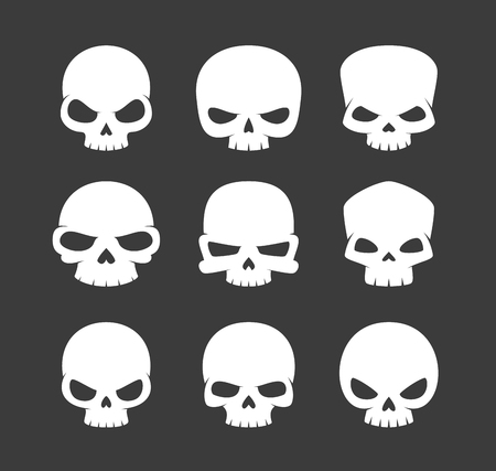Cartoon Skulls Icons isolated on plain black  background.