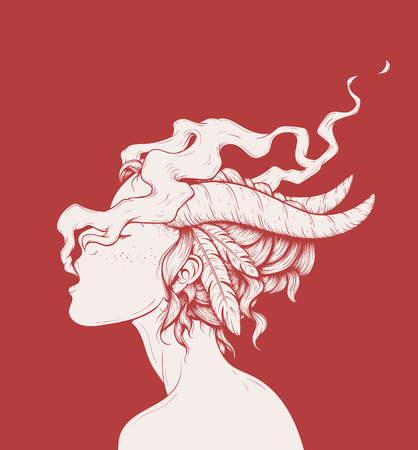 A Smoking Girl Illustration isolated on plain red background.