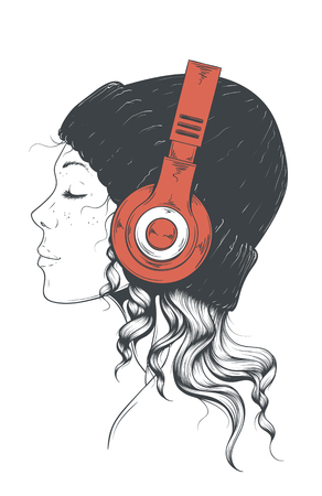 Girl in Headphones isolated on plain background. Ilustracja