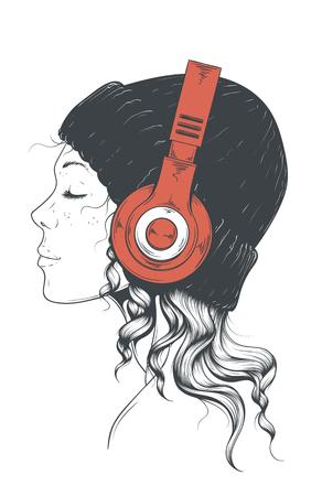Girl in Headphones isolated on plain background. Illustration