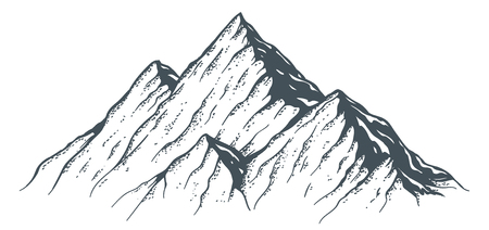 Hand Drawn Mountain isolated on plain background.