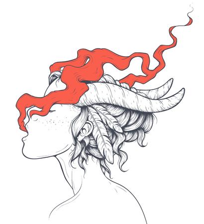A Smoking Girls Illustration isolated on plain background. 일러스트