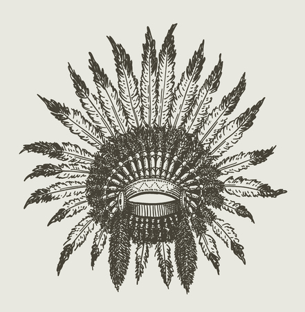 War chief Indian Headdress isolated on plain gray background.