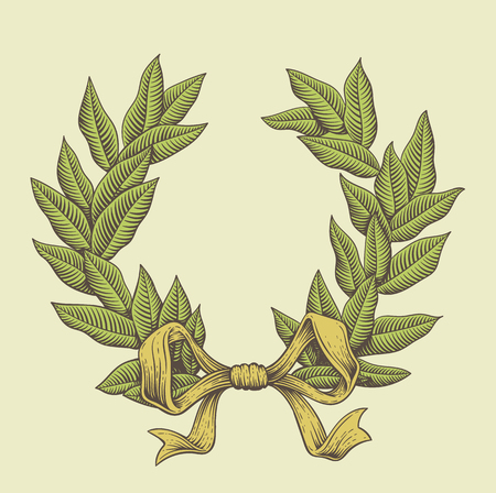Vintage vector laurel wreath illustration. Old style hand drawing image in engraving style. Illustration