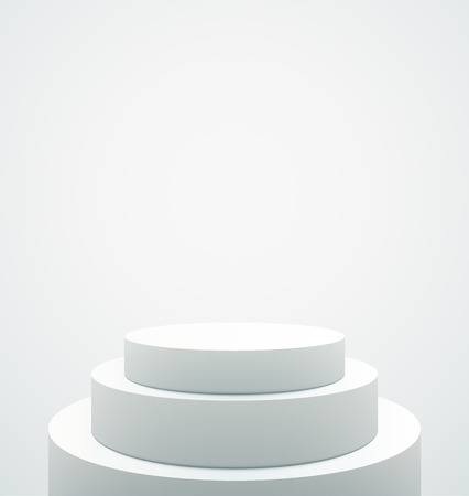 Empty White Pedestal isolated on plain gray background.