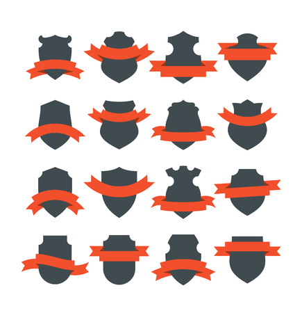 Collection of medieval shield badges with red ribbons wrapped around them. Blank vector signs with placeholders.