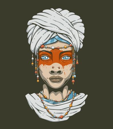 Vector beautiful desert tribal woman with blue eyes. Young girl in national costume of african tribal nomads. Turban, beads, face paint, feathers. Face front, vector illustration isolated on white.