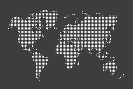 Vector simple dotted world map Banco de Imagens