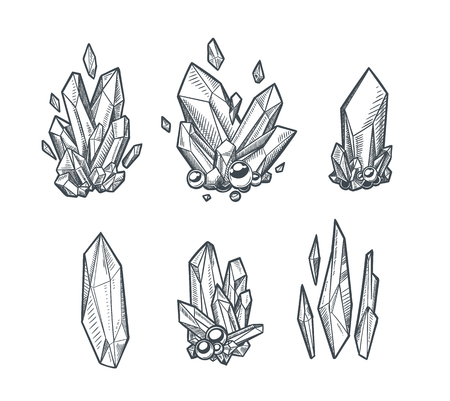 Rysunek wektor kryształów na białym tle na prostym tle.