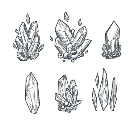Un disegno di cristalli di vettore isolato su sfondo chiaro.