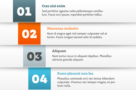 Simple material design style infographic template. Bulleted list layout with sample numbers, headers and text.