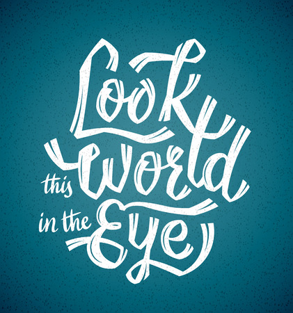 Look the World in the Eye in ocean blue Ilustração