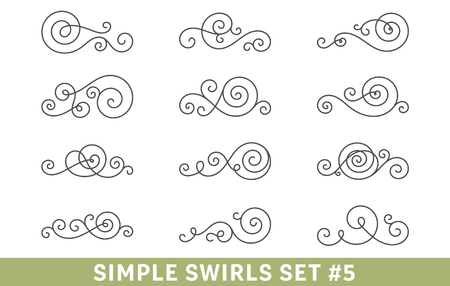 Calligraphic Swirls Collection set different
