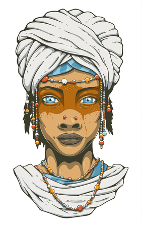Vector beautiful desert tribal woman with blue eyes. Young girl in national costume of african tribal nomads.