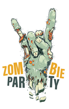 Zombie Hand party illustration on white background.