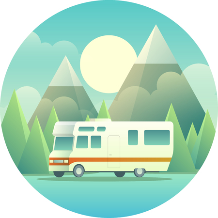 Mobile Home Illustration isolated on blue background.