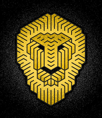 Lion's head in an abstract logo design, isolated on black background
