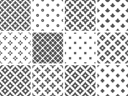 Set of Simple Seamless Patterns with black and white design