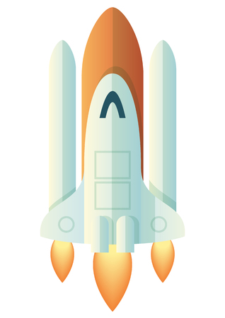 Launching Rocket, vector illustration isolated on white background