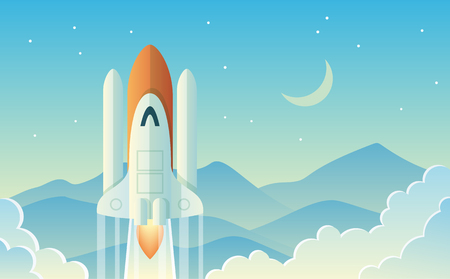 Launching Rocket on a landscaped design with moon and mountains background Illustration.