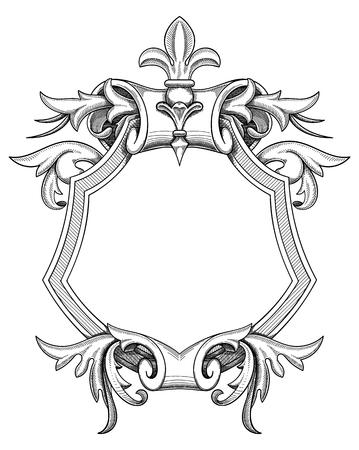 Baroque Shield border design in gray Drawing Vectores