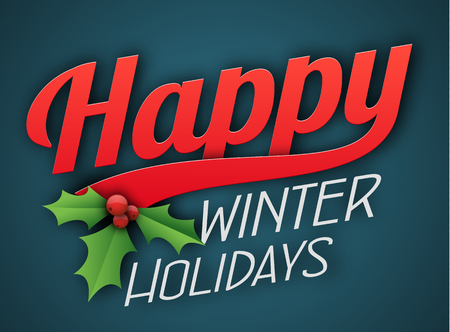 Happy Winter Holidays with poinsettia design on a background in a landscape banner