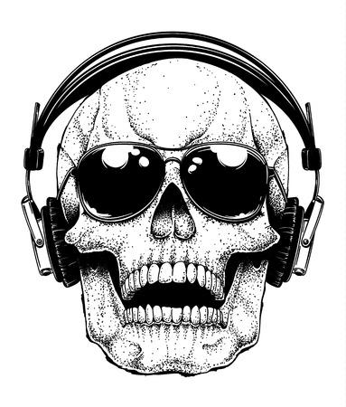 Skull In Sunglasses illustration on white background. Vectores
