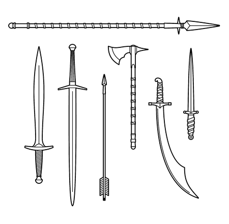 Weapon icons set Vector illustration on white background.