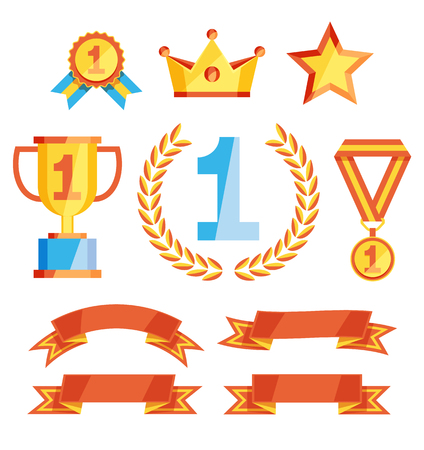 Vector awards collection. Set of symbols of high achievements and ribbons for decoration isolated on white. Sport or business success signs.