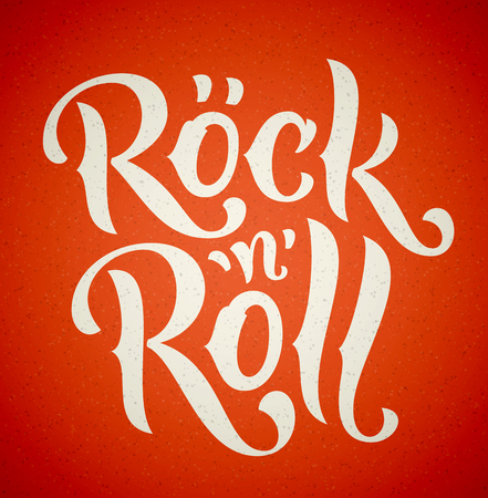 Rock And Roll lettering white on red background. Vector illustration.