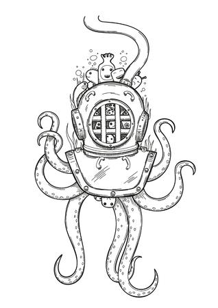 Diver helmet doodle.