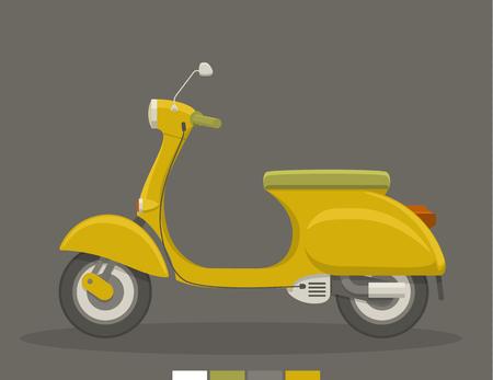 Yellow flat scooter illustration.