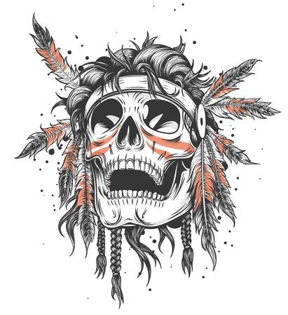 Illustrazione indiana di vettore del modello di progettazione della maglietta dell'illustrazione del cranio