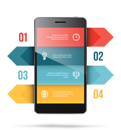 Phone Presentation Template isolated on colored presentation. Illustration