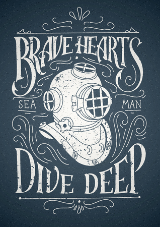Old Diver Helmet with lettering. Good for t-shirt design