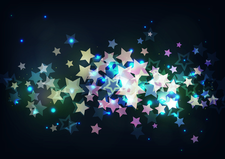 Vector illustration of bright stars on black background.
