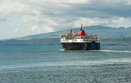 seascapes: Ferry boat going across the sea in Oban, Scotland