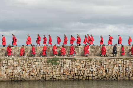 17th September 2017 St Andrews university pier walk by students in their red gowns Sajtókép