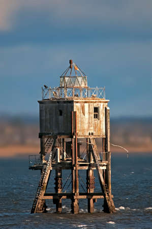 Pile light house in theTay estuary Stock Photo