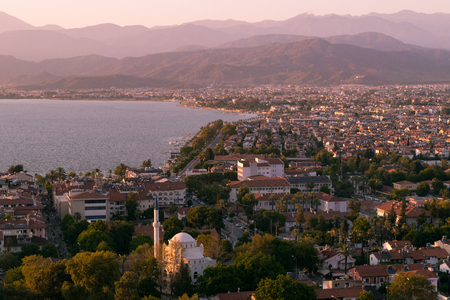 Fethiye city landscape. Turkey arhitecture and nature Editorial