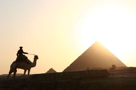 human pyramid: camel rider and pyramids