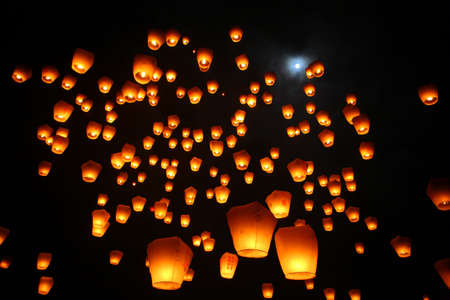 folk festival: The flying lanterns Stock Photo
