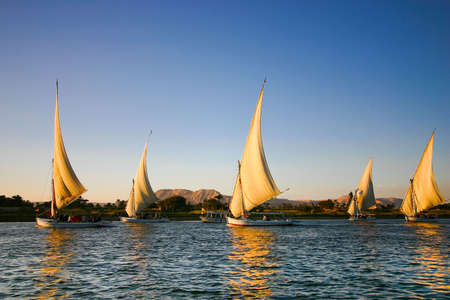 luxor: feluccas on the Nile river Stock Photo