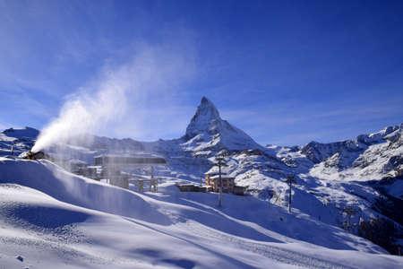 alpinist: Matterhorn alpine peak Switzerland Stock Photo