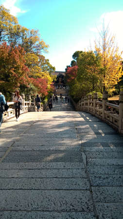 Stone bridge of Oyahon Temple Buddhist sanctum, Kyoto, Japan - Photo taken on November 5th, 2015