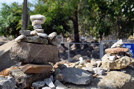 loei: Stacks of stones in Wat Phukwaingern Temple, Chiang Kan district, Loei province,Thailand