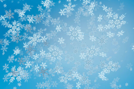 Detailed snowfall background with intricate snowflakes.