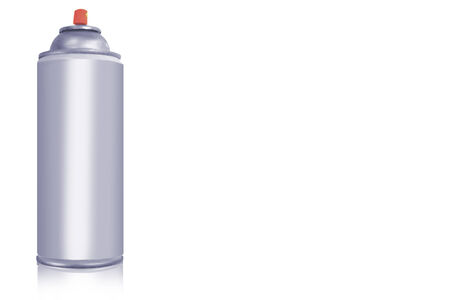 Spray paint can on white reflective surface. photo