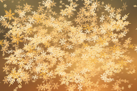 Detailed snowfall background in sunset colors.