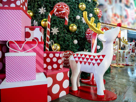 Christmas gift box colorful, Christmas Tree and  reindeer doll Stock Photo
